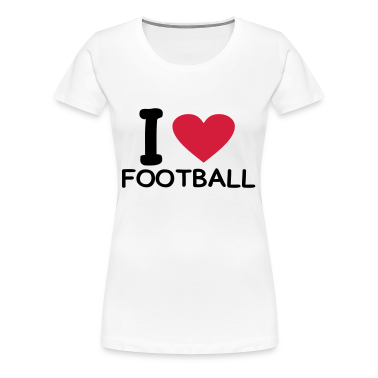 White i love football Women's Tees