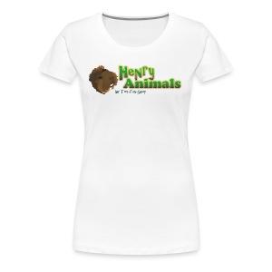 Girlieshirt weiß mit Henry Animals Logo - Frauen Premium T-Shirt