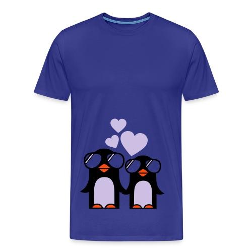 Pingviner (blå) - Premium T-skjorte for menn