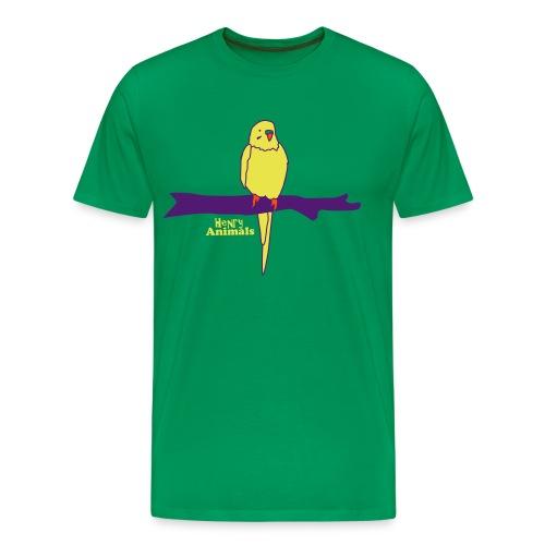 Basisshirt grün mit Wellensittich - Männer Premium T-Shirt