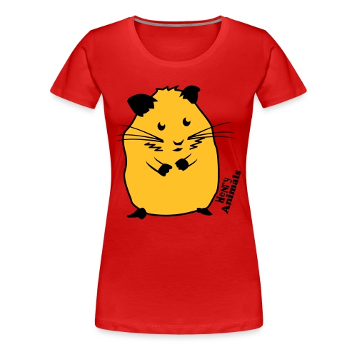 Girlieshirt rot mit Hamster - Frauen Premium T-Shirt