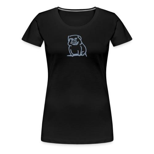 Trüffelschwein vorne / Savoy Truffle hinten silbermatt, Farbe wählbar - Frauen Premium T-Shirt