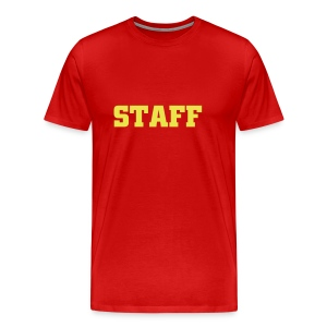 Mens ' Staff ' Tee v2 Burgundy / Yellow Flex Print - Men's Premium T-Shirt