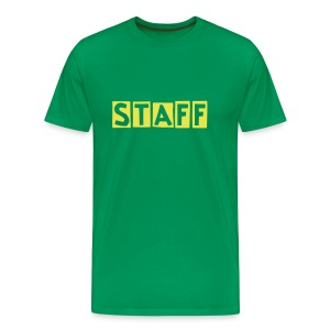 Mens ' Staff ' Tee v6 Moss Green / Yellow Flex Print - Men's Premium T-Shirt