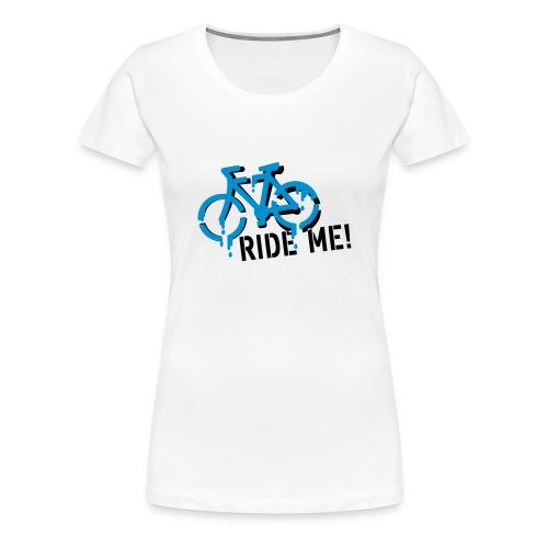 Ze-Velo Ride Me basique femme MC blanc/noir - T-shirt Premium Femme