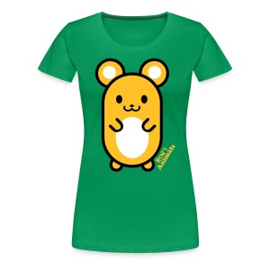 Girlieshirt grün mit Comic Maus - Frauen Premium T-Shirt