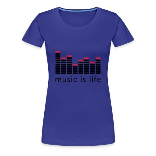 T-SHIRT MUSIC FEMME BLEU - T-shirt Premium Femme