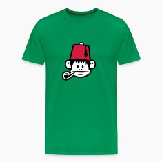 Grass green monkey fez ape primat affe pipe smoker Men's T-Shirts