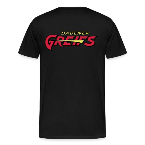 Männer Übergrößen T-Shirt schwarz - Greifs-Logo & Schriftzug - Männer Premium T-Shirt