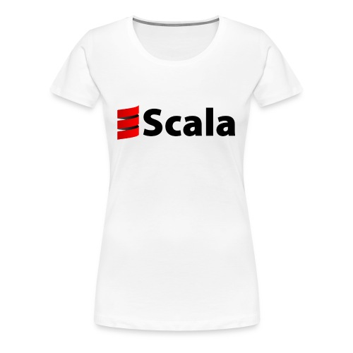 Women's White Slim Fit with Black Scala Logo - Women's Premium T-Shirt