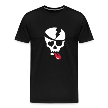Nero totenkopf mit zunge und augenklappe T-shirt