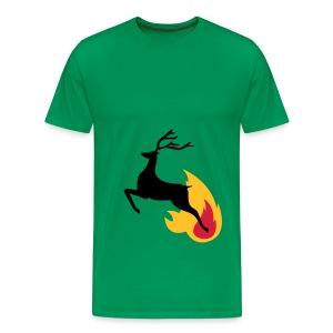 Deer jumping from flame - Men's Premium T-Shirt