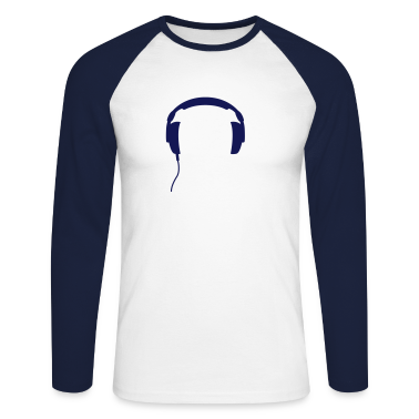White/navy Headphones DJ club party music techno Long sleeve shirts