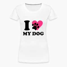 Vit I love my dog - Hundar, Hund T-shirts