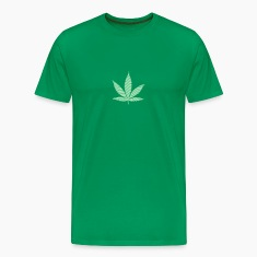 Bottlegreen Psychedelic cannabis marijuana leaf (stripes) Men's T-Shirts
