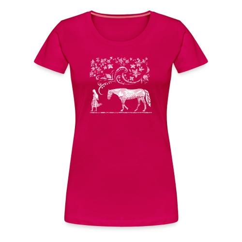 Mädchen und Pferd T-Shirt Rot Romantisch - Frauen Premium T-Shirt
