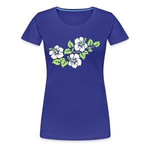 aquafarbenes Girlie-Shirt mit Hibiskus-Motiv 2farbiger Druck - Frauen Premium T-Shirt