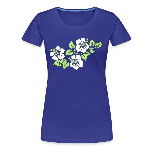 aquafarbenes Girlie-Shirt mit Hibiskus-Motiv 2farbiger Druck