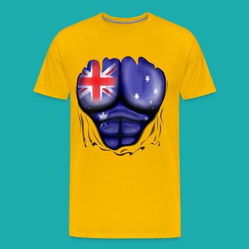 Australia Flag Ripped Muscles, six pack, chest t-shirt - Men's Premium T-Shirt