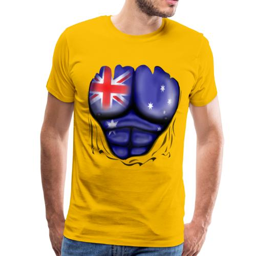 Australia Flag Ripped Muscles, six pack, chest t-shirt - Men's Premium T-Shirt