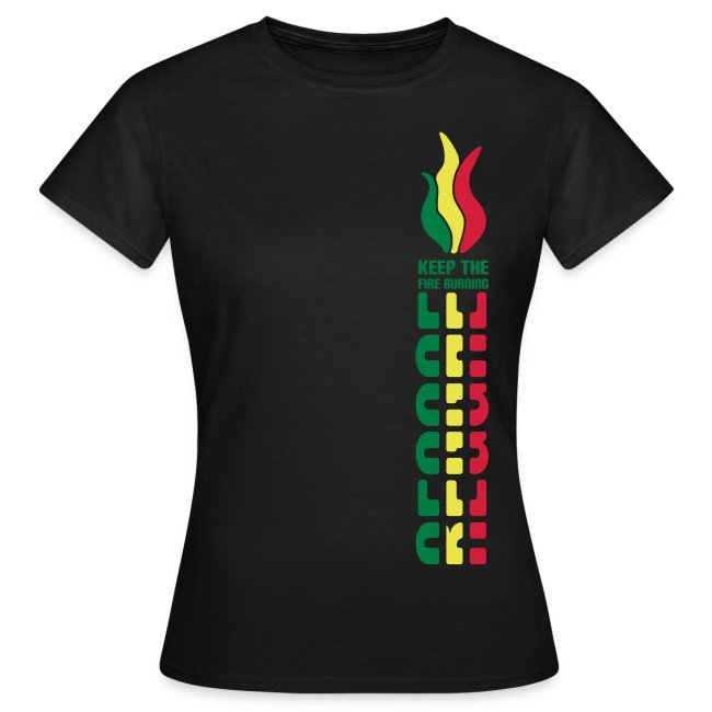 braunes Reggae Girlieshirt Keep The Fire Burning