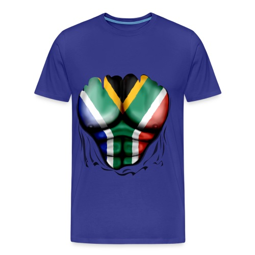 south africa  ripped muscles blue - Men's Premium T-Shirt