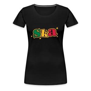 schwarzes Ska-Shirt mit Sternen 3farbiger druck - Frauen Premium T-Shirt