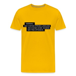 Yellow mens tshirt with comical warning message. - Men's Premium T-Shirt