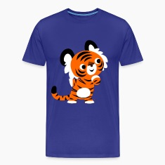 Royal blue Cute Curious Cartoon Tiger by Cheerful Madness!! Men's T-Shirts