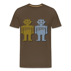 Metalic Robot Couple - Men's Premium T-Shirt