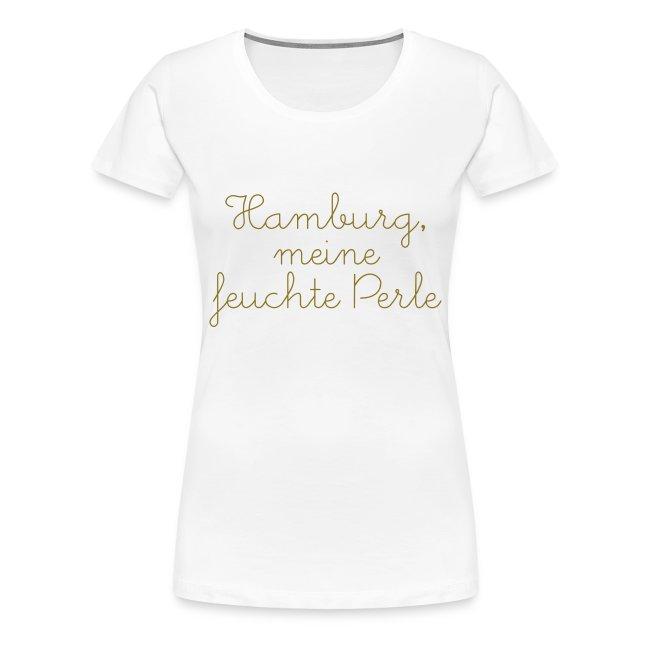 "T-Shirt ""feuchte Perle"" weiß/gold"