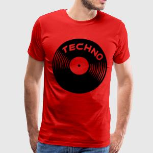 Bourgognerood techno_on_record T-shirts - Mannen Premium T-shirt