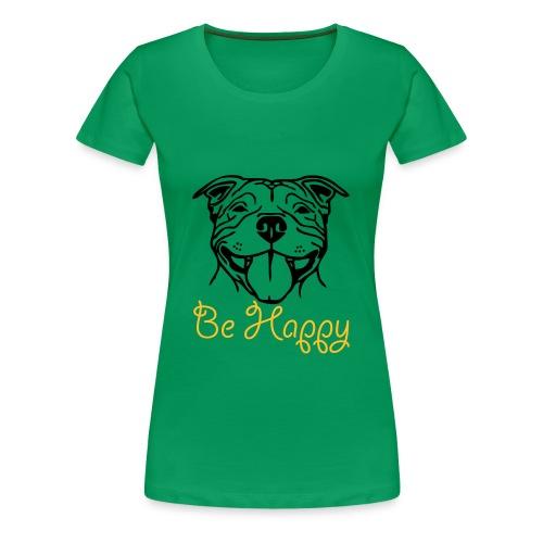 Womens Staffy Smile 'Be Happy' T-Shirt - Women's Premium T-Shirt