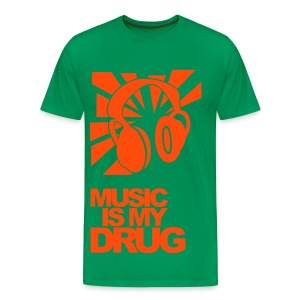 Green + Orange tee-shirt 'Music is my drug ' - Men's Premium T-Shirt