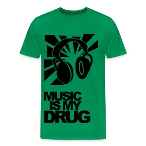 'Music is my drug 'Black + Rose tee-shirt - Men's Premium T-Shirt
