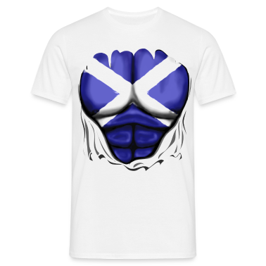 Scotland Flag Ripped Muscles, six pack, chest t-sh