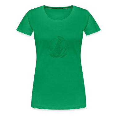 Clover green Tuba wind instrument for marching band Women's T-Shirts