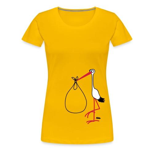 Storch Baby im Bauch  T-Shirt gelb - Frauen Premium T-Shirt