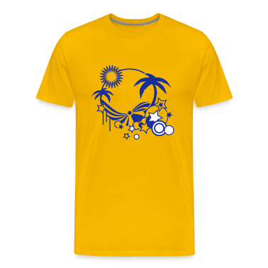 Yellow Beach in the summer with palm trees, sun and sea Men's T-Shirts