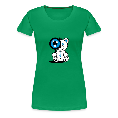 Little Bear with magnifying glass Women's T-Shirts