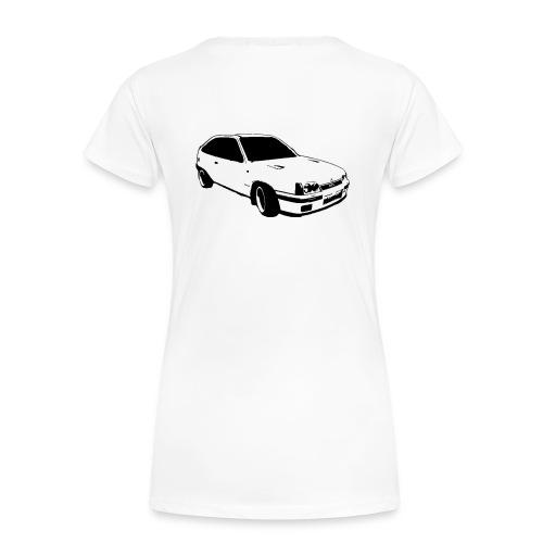 Ladies GTE logo front, Car print back T-shirt - Women's Premium T-Shirt