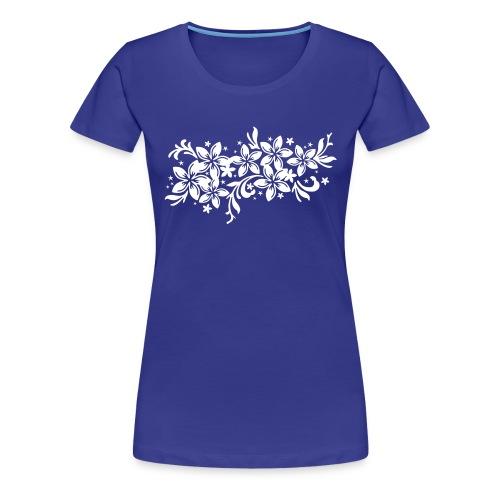 divablaues Frauenshirt mit karibischen Blüten einfarbiger Druck - Frauen Premium T-Shirt