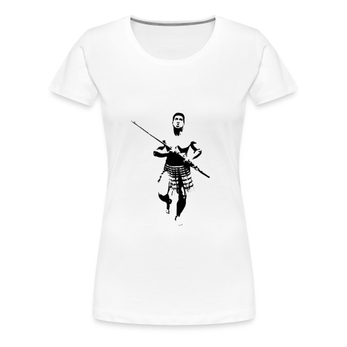 Maori Warrior with Taiaha - Women's Premium T-Shirt