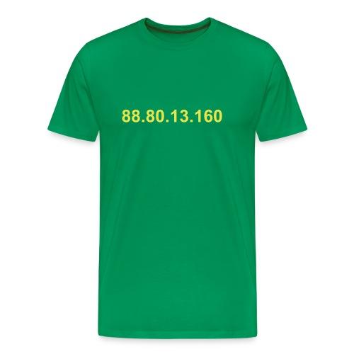 IP 88.80.13.160 (gele opdruk) - Mannen Premium T-shirt