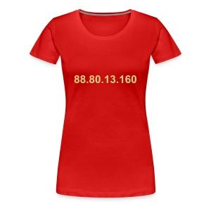 IP 88.80.13.160 (creme opdruk) - Vrouwen Premium T-shirt