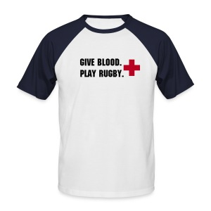 Give Blood, Play rugby-White tee black contrast - Men's Baseball T-Shirt