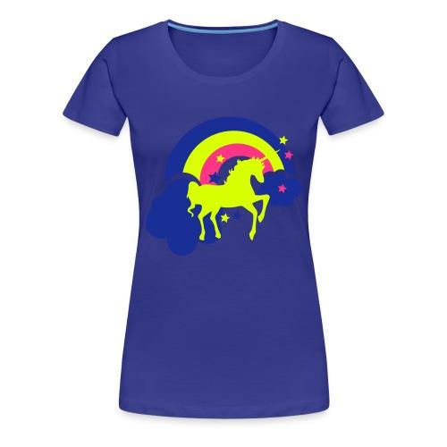 Einhorn mit Regenbogen in türkis - Frauen Premium T-Shirt