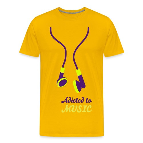 Addicted to music amarilla - Camiseta premium hombre