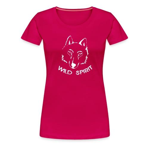 Damen Shirt Wolf canis lupus Wild Spirit weiss Tiershirt Shirt Tiermotiv - Frauen Premium T-Shirt