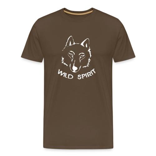 Herren Shirt Wolf canis lupus Wild Spirit weiss Tiershirt Shirt Tiermotiv - Männer Premium T-Shirt